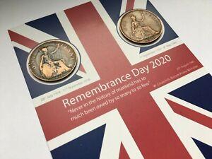 Lest We Forget Flag - Coin Set - 1918 & 1945 -11th November 2020 Remembrance Day