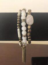 Slip On Stretch Bracelet White & Copper Beads