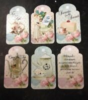 6 VINTAGE STYLED TEA THEMED CARD MAKING SCRAPBOOKING CRAFT TAG EMBELLISHMENTS