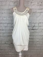 Womens GOSSIP Cream Silky Necklace Detail Ruched Sleeveless Mini Dress Size 8