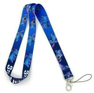 FREE POSTAGE BRAND NEW LILO AND STITCH CUTE ALIEN BLUE WHITE LANYARD ID CARD
