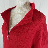 Coldwater Creek Red Size M Sweater 3/4 Zipper Front Pullover