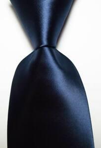 New Classic Solid Dark Blue JACQUARD WOVEN 100% Silk Men's Tie Necktie