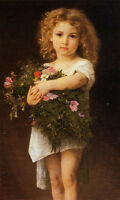 Art Oil painting William-Adolphe Bouguereau - Little girl holding flowers canvas