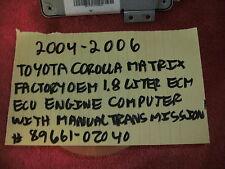 2004-2006 TOYOTA COROLLA MATRIX 1.8 LITER ECM ECU ENGINE COMPUTER # 89661-0Z040