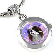 Cavalier King Charles Spaniel Silver Quartz Watch European Bracelet Charm EBA43