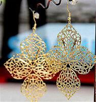 Couleur or découpées alliage leaf chandelier boucles d'oreille