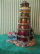 Lighthouse ~ Brick ~ Enameled & Jeweled Trinket Box #4142