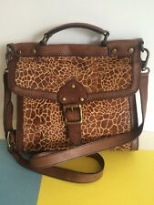 Giraffe Print Fur FOSSIL VINTAGE REVIVAL Brown Leather Shoulder Bag Purse