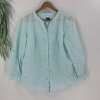 Talbots Womens Pullover Tunic Top Shirt Size XL Aqua Blue Cotton Roll Tab Sleeve