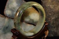 57 mm 100% Untreated Chinese Natural Green Jadeite A Jade Bangle Free Ring O17