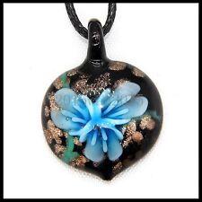 Fashion Women's heart lampwork Murano art glass beaded pendant necklace #A169