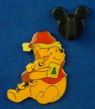 Pooh and Piglet Hugging Christmas on card 100 Acre Collection Disney Pin # 3739