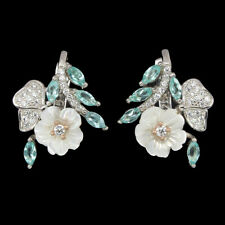 Marquise Neon Blue Apatite 4x2mm Mop Cz 925 Sterling Silver Flower Earrings