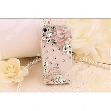 Fashion Bling Crystal Pearl Rhinestone Hard Clear Case Cover For Samsung iPhone