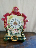 Limoges China Floral Mantle Style Desk Clock