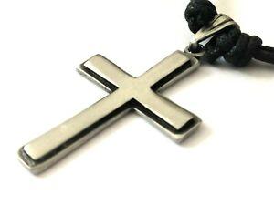 Small Plain Cross Pewter pendant Mens Boys Women Girls 30mm plus loop   P0643