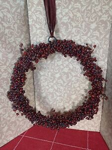 """POTTERY BARN PEPPERBERRY CRANBERRY GLASS BEADED WREATH WITH RIBBON HANGER 11"""""""