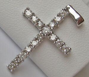 WoW ♛ Kreuz Brillant Anhänger aus 585 Gold mit Diamant Weißgold Diamonds ★ 7469