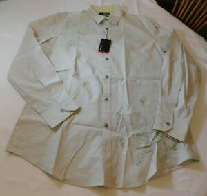 Murano Modern Comfort Men's Long Sleeve Button Up Shirt Size L large Off White