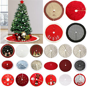 Christmas Tree Print Skirt Mat Cover Stand Red Heart Apron Rug Xmas Home Party