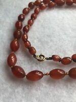1980s Carnelian Beaded Necklace Knotted Vintage Retro Jewelry Jewellery Gemstone