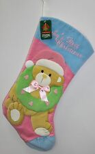 BABY'S FIRST CHRISTMAS STOCKING Teddy Bear & Wreath Holiday Decoration Unisex