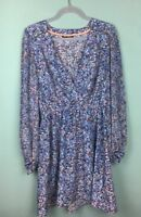 Miss Selfridge Blue Patterned V Neck Blouson Sleeve Mini Dress Size 14 - B7