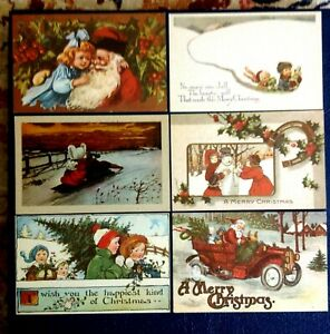 Vintage Oldtime Ecology Christmas Postcard. Lot of 6.