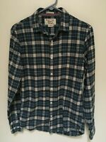 Penguin Mens Heritage Small Slim Fit Blue Plaid Flannel Long Sleeved Shirt