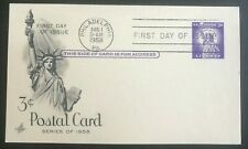 1958 US 3 Cent Liberty First Day of Issue Art Craft Cachet Post Card