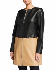 $590 Neiman Marcus  Lambskin Genuine  LEATHER  Colorblock Jacket/Coat** US XL