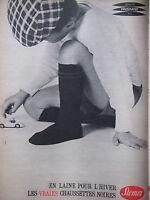 PUBLICITÉ DE PRESSE 1961 CHAUSSETTES NOIRES STEMM POUR L'HIVER -- ADVERTISING
