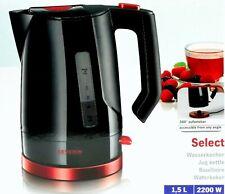 Severin WK 3392 Wasserkocher Select 1,5 Liter Schwarz/Rot 2.200 Watt Kunststoff