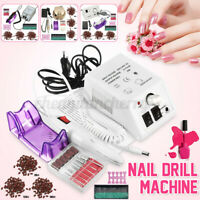 Complete Electric Nail File Acrylic Drill Sand Bits Machine Kit Manicure