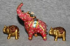 India Elephant Zoo Safari Animal Hindi Decorative Ornaments Statuette C  (set 3)