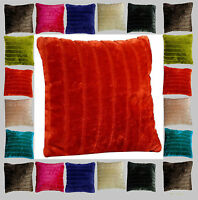 "Faux Fur Soft Fleece Stripe Cushion Covers 18"" x 18"" / 45 x 45cm Pack of 4"