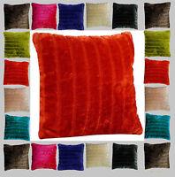 "Faux Fur Soft Fleece Stripe Cushion Covers 18"" x 18"" / 45 x 45cm Pack of 4"