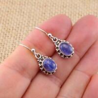 Tanzanite Oval 925 Sterling Silver Blue Drop Earrings Indian Jewellery