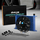 15 Row Fit For Universal Engine Transmission Oil Cooler 7 Electric Fan Kit Bl