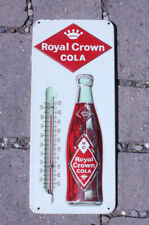 Vintage ROYAL CROWN COLA THERMOMETER Sign RC Tin Soda Pop EMBOSSED -  WORKS!