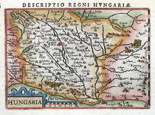 UNGHERIA, HUNGARIA, BERTIUS. ORIGINALE in miniatura Colorato A Mano Antico Mappa 1606