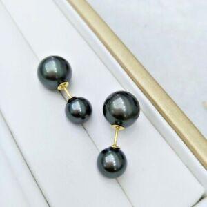 elegant ladies 11-12mm 8-8.5mm Tahitian black round pearl stud earring 18k gold