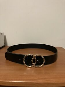 LADIES BLACK FASHION BELT WITH DOUBLE GOLD RING BUCKLE