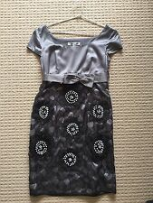 Made in Italy 100% Silk Grey Black Dress with beads & lace Size 8 Aust Exc. Cond