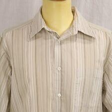 Beige Striped Large Dress Shirt Tan Button Down Oxford L Top Khaki Long Sleeve