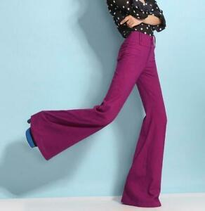 Women's Wide Leg High Waist Long Bell Bottom Trousers Cotton Linen Solid Pants