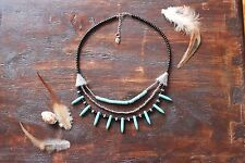 Pretty Handmade 3 Layer Turquoise Spike & Black and Silver Glass Beaded Necklace