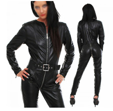 New Ladies Genuine leather catsuit Romper Jumpsuit full sleeves zip fitted