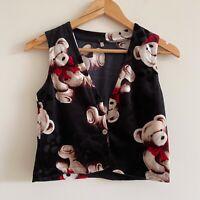 vintage soft teddy bear print vest retro 80s 90s teen kitsch cute soft